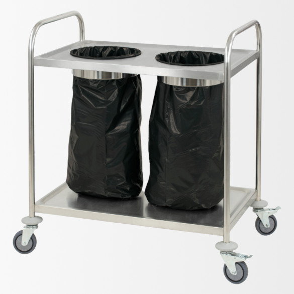 Chariot en inox porte poubelle