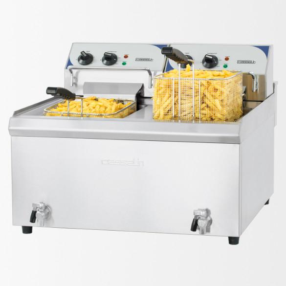 Friteuse électrique avec vanne de vidange 2 x 10 litres haut rendement