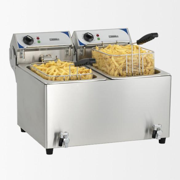Friteuse électrique avec vanne de vidange 2 x 10 litres