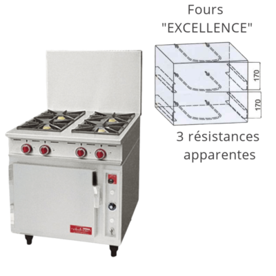 """Fourneau 4 feux four electrique """"Excellence"""""""