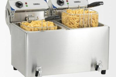 Friteuse électrique avec vanne de vidange 2 x 7 litres