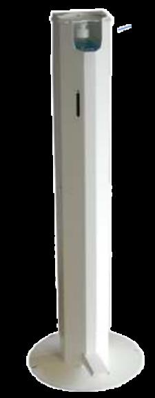 Distributeur sans contact de gel hydro alcoolique mains libres - ACIER PEINT coloris blanc