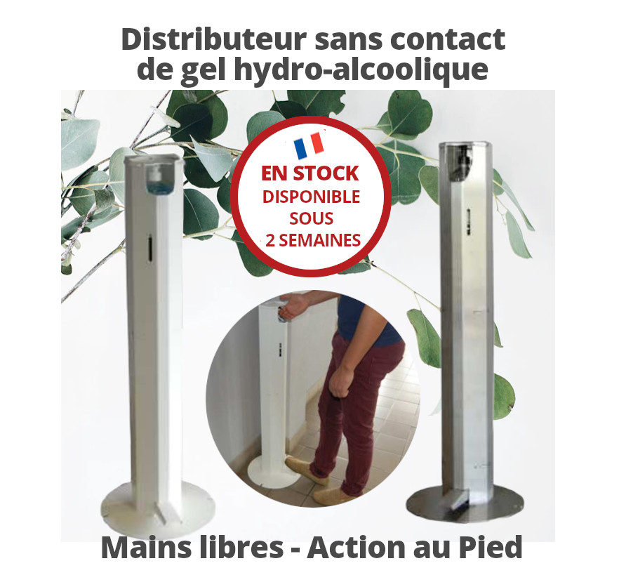 Distributeur sans contact de gel hydro alcoolique Mains libres - Action au Pied