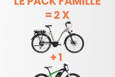 Pack Famille – Location 3 vélos électriques (2 adultes+1 enfant)