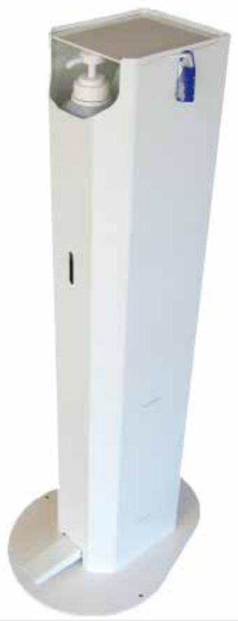 Distributeur ACIER PEINT BLANC sans contact de gel mains libres