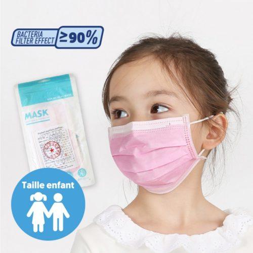 Masque jetable FFP1 taille enfant rose